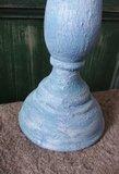 Geverfde kandelaar in blauw/wit, 37 cm._3