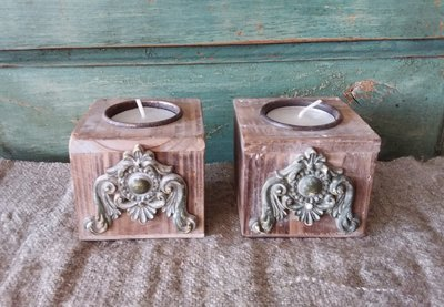 Waxinelichthouders hout/ijzer
